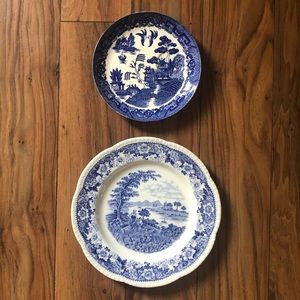 Vintage Set/ 2 Mix and Match Blue and White Plates